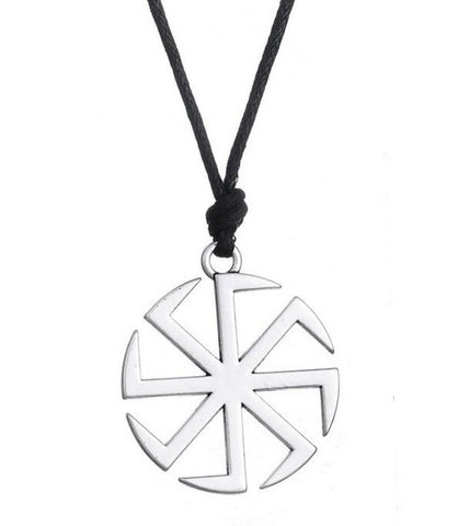 trendy hollow slavic sun symbol pendant necklace for men
