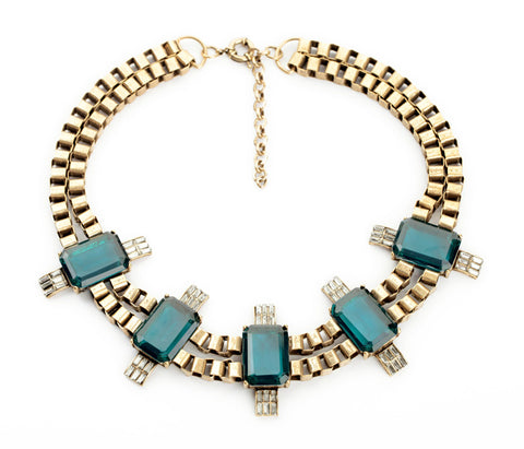 imitation emerald resin stone statement necklace for women