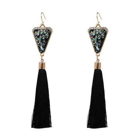 elegant style fringe tassel drop earrings for women