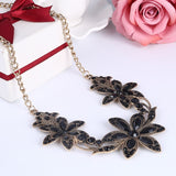gothic crystal flower necklace & pendant for women