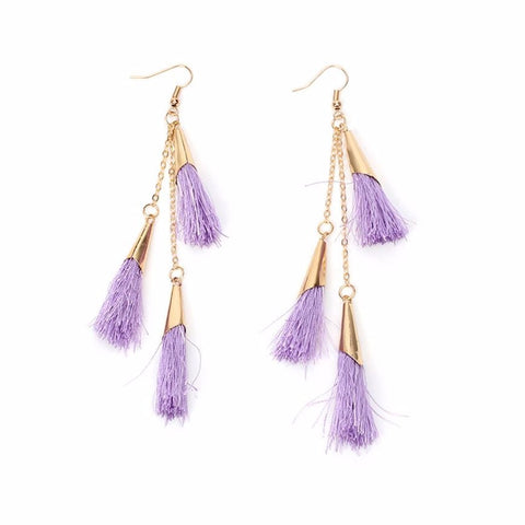 elegant lavender color tassel long drop earrings for women