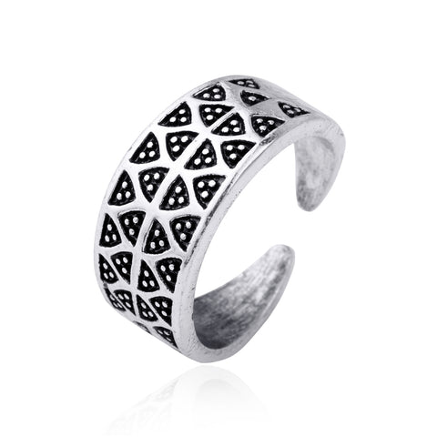 antique silver wave dot triangle pattern open ring