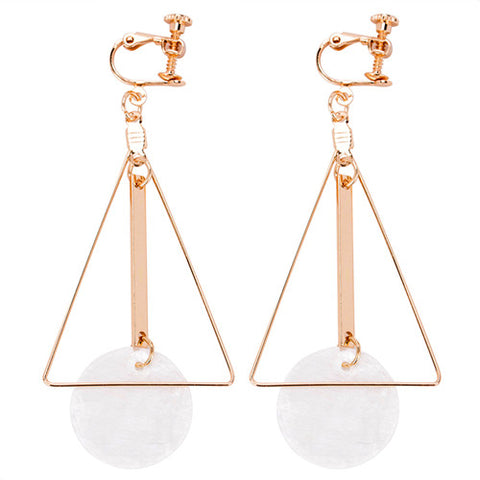 gold color shell statement dangle large earrings for women