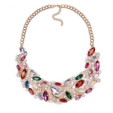 luxury crystal gem pendant choker necklace for women