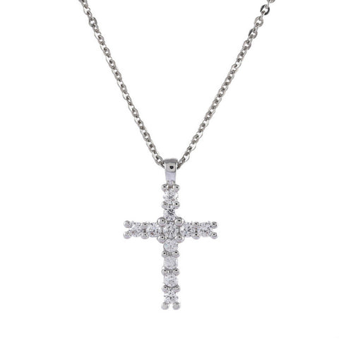 micro pave full cubic zirconia cross pendant necklace for women
