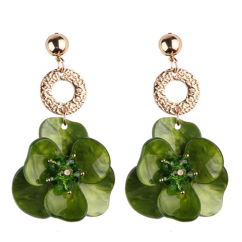 romantic resin flower shape drop earrings for women