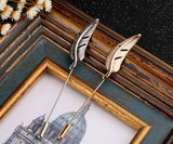retro ancient silver feather shape brooch lapel pin for men