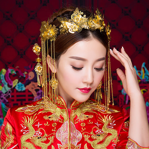 chinese style gold color hair stick set for women