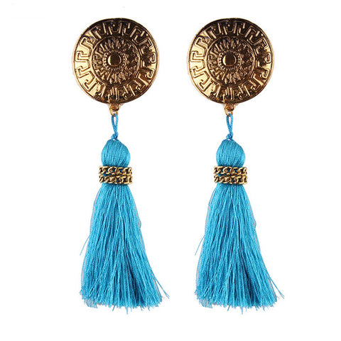 ethnic round coin shape fringed tassel earrings for women
