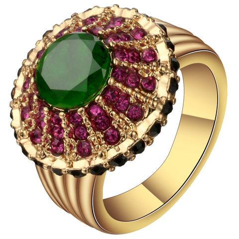 vintage colorful paved crystal gold color ring for women