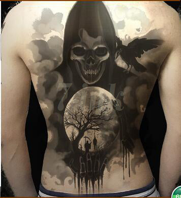 cool big crow moon & skull pattern waterproof temporary tattoo