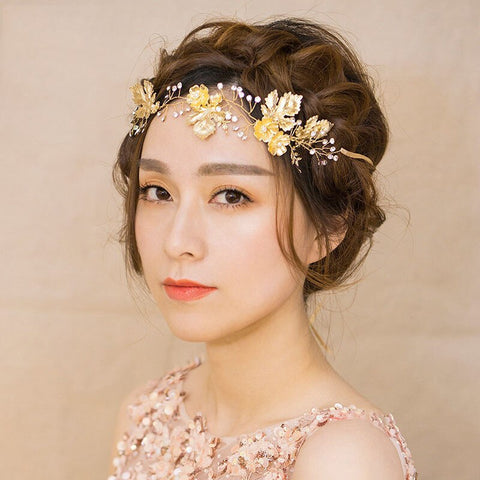 trendy golden maple leaf with crystal hair bands tiara for women