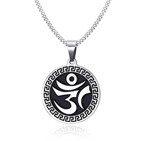 stainless steel sanskrit yoga symbol pendant necklace