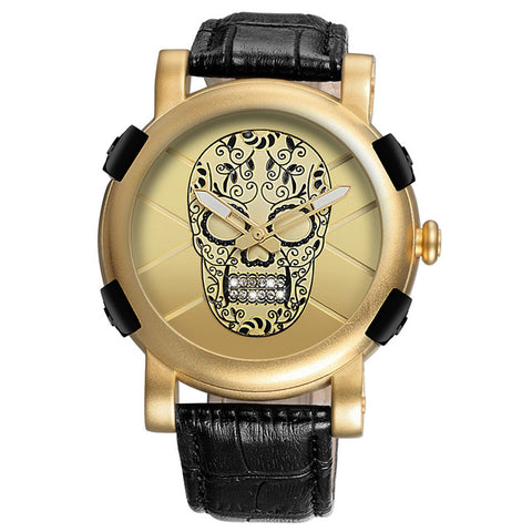 cool skull with crystals pattern leather strap quartz watch for men