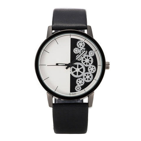 trendy gear pattern leather band quartz wrist watch