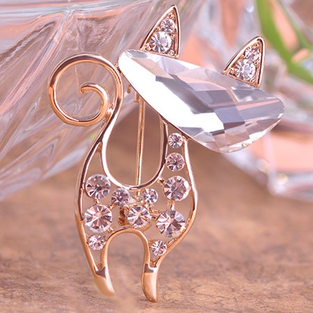 cute crystal cat hollow design brooch pin for women