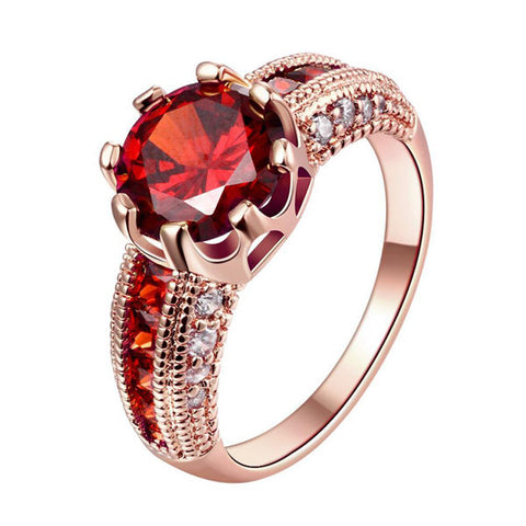 luxury gold color crown cubic zirconia ring for women