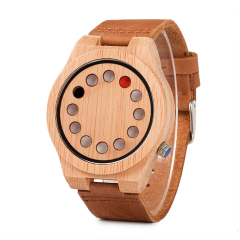 trendy minimal pattern bamboo wood quartz wrist watch