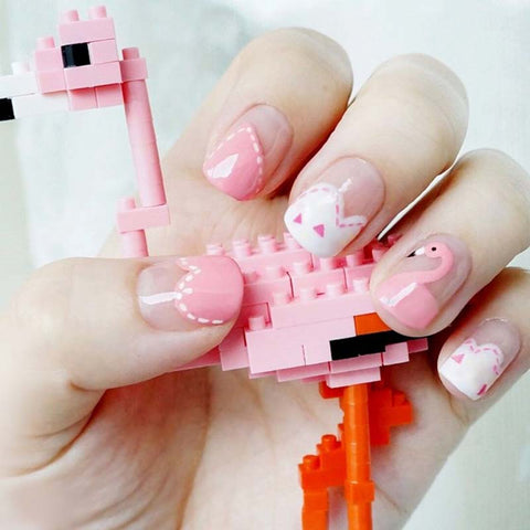24 pcs/set cute pink bird finished false nails for women