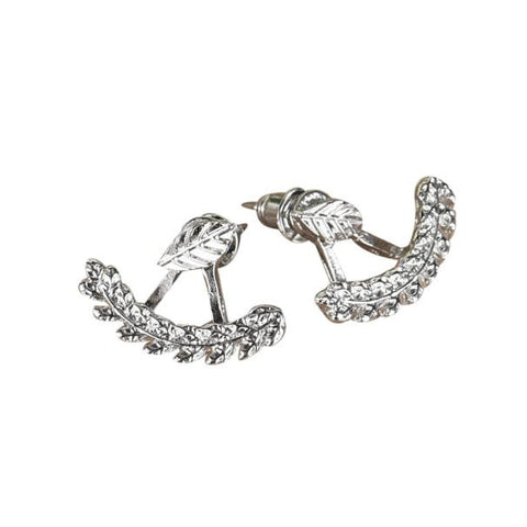 trendy silver color leaf shape stud earrings for women