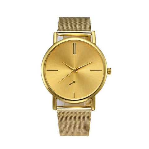 minimal golden dial stainless steel band watch for women