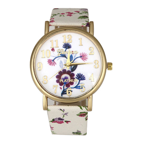 romantic flower pattern leather band quartz watch for women