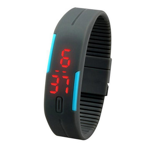 cool silicone band digital led sport wrist watch for men