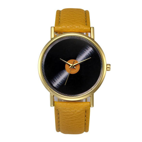 trendy vinyl record pattern faux leather quartz wrist watch