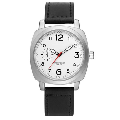 sport style faux leather analog quartz wrist watch for men