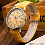 trendy wood dial analog quartz leader wrist watch