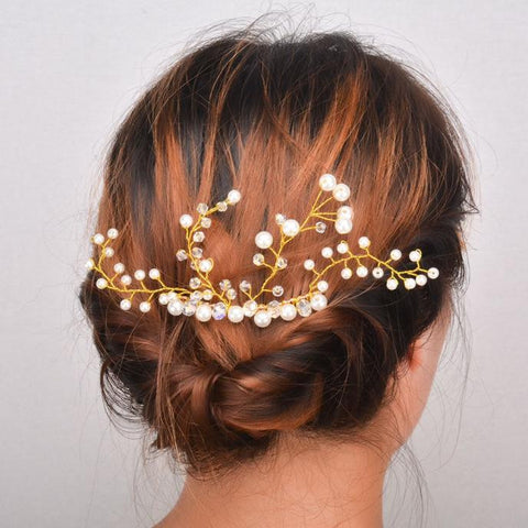 elegant imitation pearl & crystal ornament hair comb for women