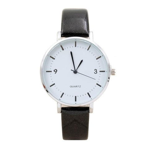 elegant faux leather band quartz watch for women