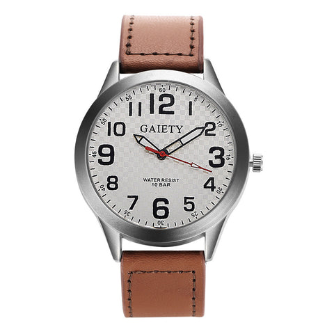 elegant design pu leather quartz wrist watch for men