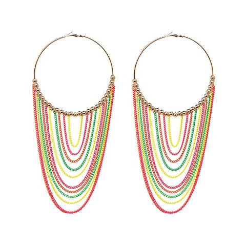 big colorful tassel hoop statement earrings for women