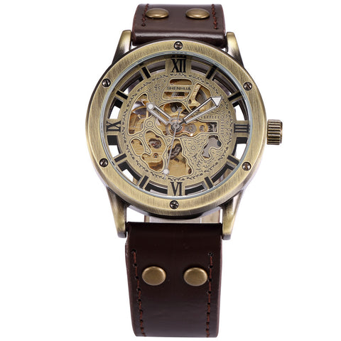 steampunk mechanical skeleton dial leather band watch for men
