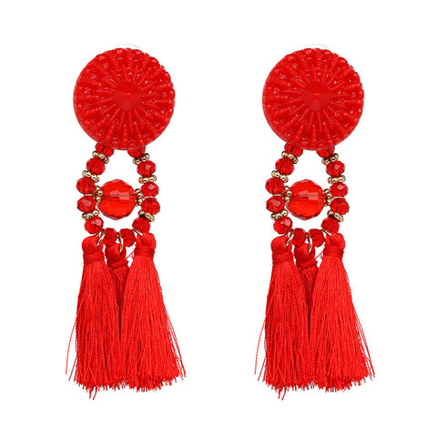elegant big resin long tassel beads stud earrings for women