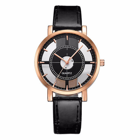 elegant style double hollow quartz wrist watch for women