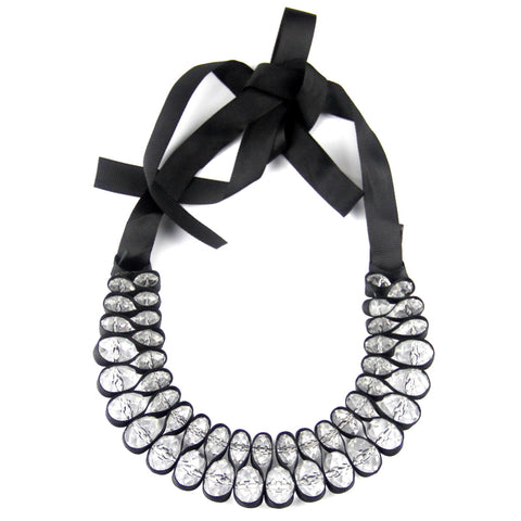 black ribbon acrylics crystal choker statement necklace for women
