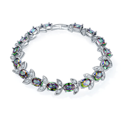 trendy colorful shining cubic zirconia bracelet for women