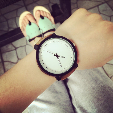 trendy simple design quartz analog leather wrist band watch