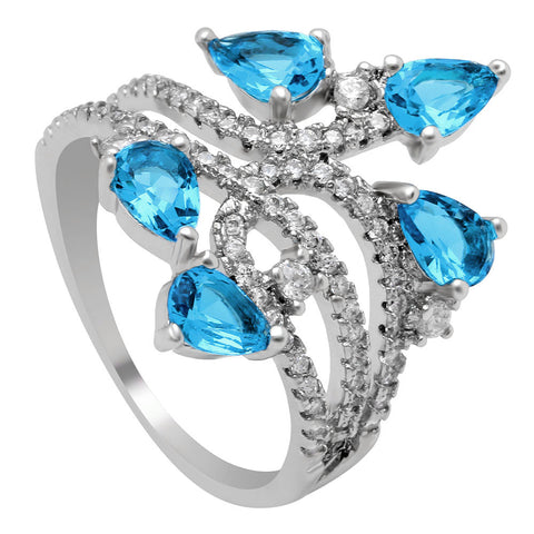 silver color flower zircon ring for women
