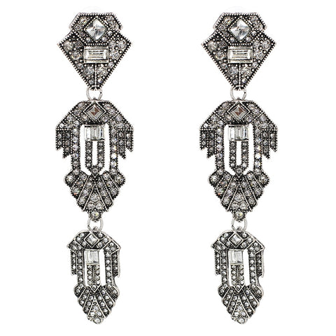 vintage long crystal rhinestone stud earrings for women