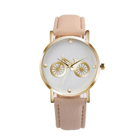 trendy bicycle pattern pu leather quartz wrist watch for women