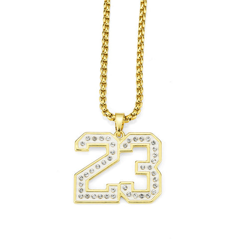 golden bling basketball number 23 crystal necklace for men
