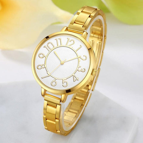 elegant stainless steel band quartz wrist watch for women