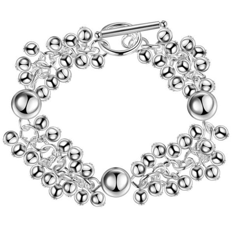 silver color beads bracelet for women