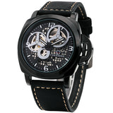 cool automatic mechanical leather band watch for men