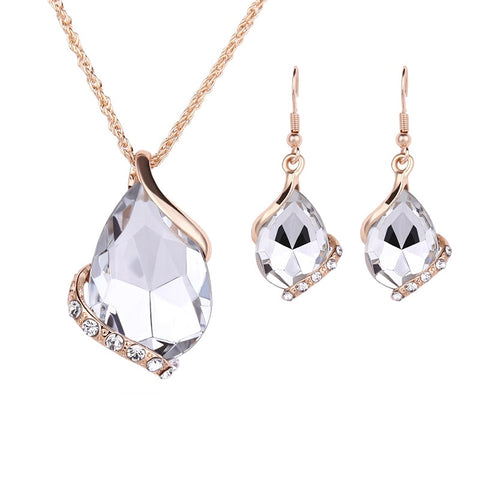 elegant shinny cubic zircon crystal & glass jewelry set for women