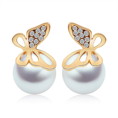 luxury crystal butterfly & simulated pearl stud earrings for women