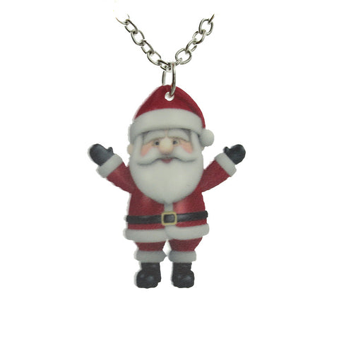 cute christmas santa claus acrylic pendant necklace